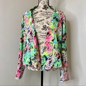 GIBSON & LATIMER | Neon Abstract Lace Blazer SZ LG